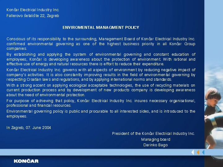 Environmental management policy